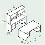 Adaptabilities 3-Part Desk/Credenza/Open Hutch