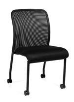 Seating to Go: Armless Mesh Back Guest Chair with Casters - OTG11761B