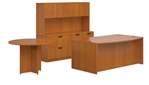 Superior Laminate Bow Front Desk with Filing Hutch and Conference Table - Layout SL-H from Global