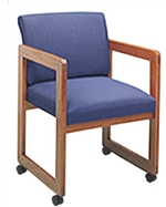Classic Full Back Series: Sled Base Guest Chair with Casters - Healthcare Vinyl - C1401C3