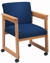 Classic Extended Arm Series: Tapered Arm Sled Base Guest Chair with Casters - C1401D4
