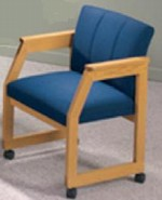 Classic Series: Angle Arm Double Tufted Sled Base Conference Chair with Casters from Lesro