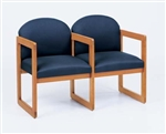 Classic Round Back Series: 2 Seats with Center Arm and Sled Base - C2303G3