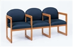 Classic Round Back Series: Sled Base 3 Seats with Center Arms - C3303G3