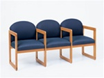 Classic Round Back Series: 3 Seats with Center Arms and Sled Base - Healthcare Vinyl - C3303G3