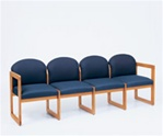 Classic Round Back Series: 4 Seat Sled Base Sofa - Healthcare Vinyl - C4301G3