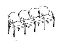 Ashford Series: 4 Seats with Center Arms - D4103G5