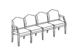 Hartford Series: 4 Seat Sofa - Healthcare Vinyl - H4101G5