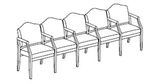 Hartford Series: 5 Seats with Center Arms - Healthcare Vinyl - H5103G5