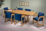 96in Boat-Shaped Conference Table - Trestle Base from Lesro