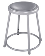 "18""H Lab Stool with Grey Padded Seat from National Public Seating"