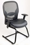 Mesh and Leather Sled Base Side Chair