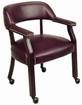 Traditional Oxblood Visitors Chair with Mahogany Finish and Ball Casters