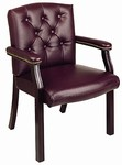 Traditional Oxblood Visitors Chair with Mahogany Finish