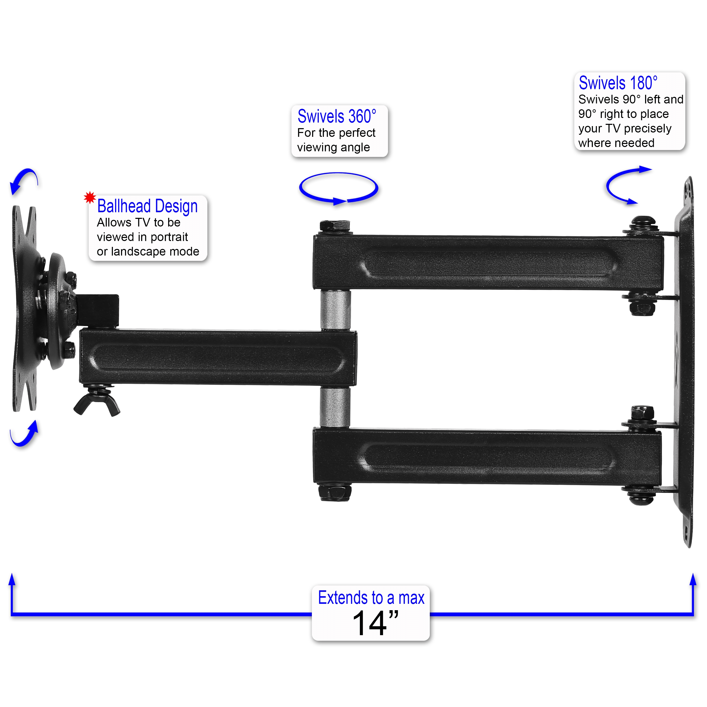 Cheetah Mounts ALAMB Articulating Arm (15 Extension) TV Wall Mount Bracket  for 12-24 TVs and Displays up to VESA 100 and up to 40lbs, Including a 10'  ...