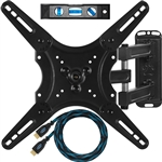 "Cheetah Mounts ALAMLB Articulating Arm (20"" Extension) TV Wall Mount Bracket for 20-55"" TVs up to VESA 400 and 66lbs, Including a Twisted Veins 10' Cable and a 6"" 3-axis Magnetic Bubble Level"