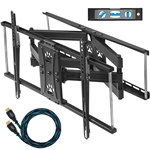"Cheetah Mounts APDAM2B Dual Articulating Arm (20"" Extension) TV Wall Mount Bracket for 32-65"" TVs (many up to 75"" or more) up to VESA 600 and 165lbs, including a Twisted Veins 10' HDMI Cable and a 6"" 3-Axis Magnetic Bubble Level"