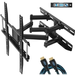 "Cheetah Mounts APDAM3B Dual Articulating Arm TV Wall Mount Bracket for 20-65"" TVs up to VESA 400 and 115lbs Only, Mounts on Studs up to 16"" Only and includes a Twisted Veins 10' HDMI Cable and a 6"" 3-Axis Magnetic Bubble Level"