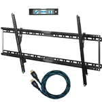 Cheetah Mounts APTMLB TV Wall Mount for 20-80 inch TVs (Max VESA: 800x400) Bundle with 10-feet Braided HDMI Cable and a 6-Inch 3-Axis Magnetic Bubble