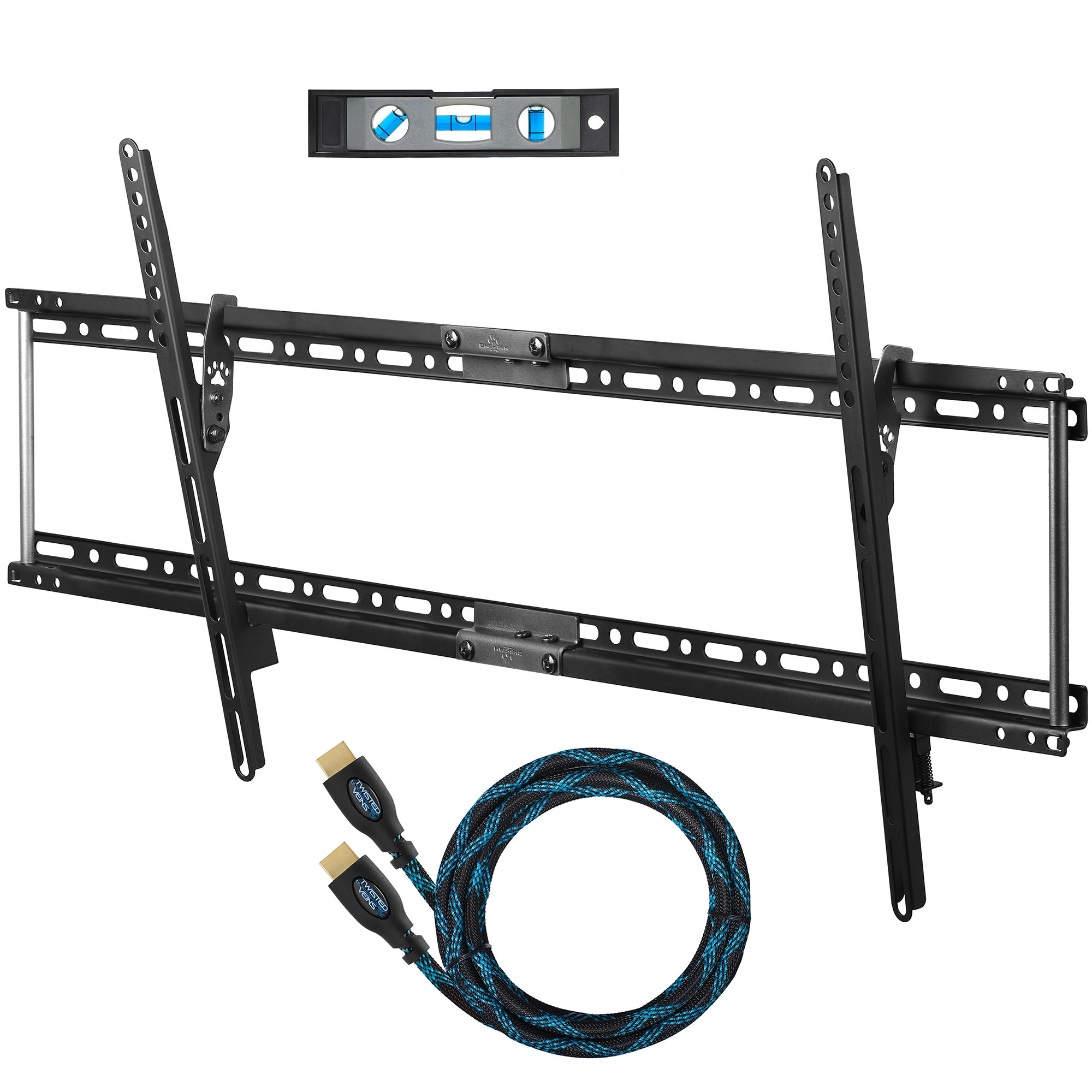 cheetah mounts aptmlb tv wall mount for inch tvs max vesa 800x400 bundle with 10feet braided hdmi cable and a 6inch 3axis magnetic bubble