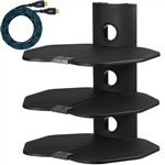 "Cheetah Mounts AS3B Three (3) Shelf TV Component Wall Mount Shelving Bracket with 18x16"" Shelves and 15' Twisted Veins HDMI Cable, including Cable Management for Cable or Satellite Box, DVD Player, Game Station, Receiver, etc., and Compatible with all L"