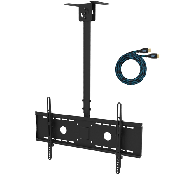 "Cheetah Mounts APLCMB Tilt, Swivel Black TV Ceiling Mount for 32"" to 75"" and 165lbs, LED, LCD Flat Screen TV's; Includes One 15' Twisted Veins HDMI Cable"