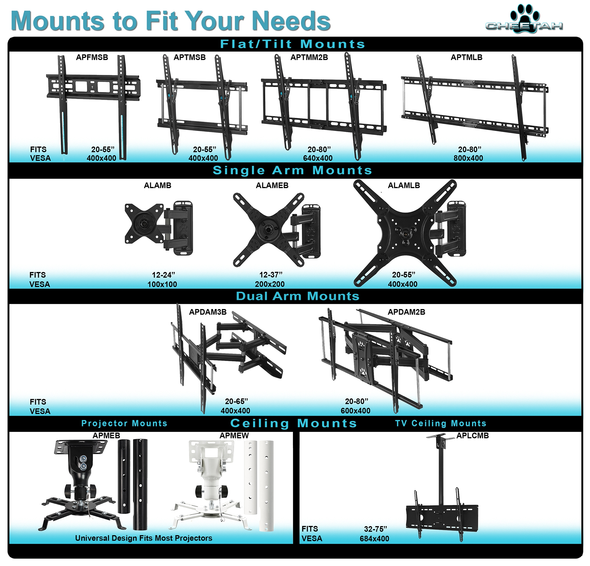 Cheetah Aptmm Wall Mount For Tvs Many From