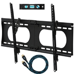 "Cheetah Mounts APTMMB TV Wall Mount Bracket for 20-90"" TVs up to VESA 730 and 165lbs, Fits 16"" And 24"" Wall Studs and includes a 10' Twisted Veins HDMI Cable and a 6"" 3-Axis Magnetic Bubble Level"