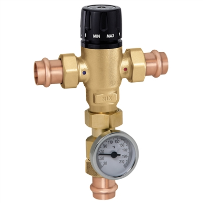 "Caleffi ¾"" Press MixCal Press with inlet check valves and thermometer 521516AC"