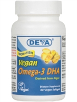 Vegan Omega 3 DHA (Algae) / Deva Nutrition/ 30 vegan softgels