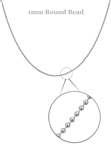 "Sterling Silver Round Ball Chain, 1mm 18"" -- new"