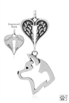 Sterling Silver Akita, Head w/Healing Angels Pendant -- new
