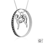 Sterling Silver Akita w/Bear, Body w/Colossal Blinger Pendant -- new