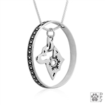 Sterling Silver Alaskan Klee Kai Pendant, w/Snowflake in Head, w/Colossal Blinger -- new