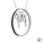 Sterling Silver Alaskan Klee Kai Pendant, w/Alaska in Body, w/Colossal Blinger  -- new
