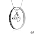 Sterling Silver American Staffordshire Terrier Pendant, Natural Ears, Head, w/Colossal Blinger -- new