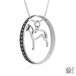 Sterling Silver American Staffordshire Terrier Pendant , Natural Ears, Body, w/Colossal Blinger -- new
