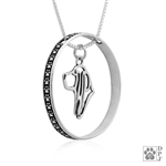 Sterling Silver Basset Hound Pendant, Head, w/Colossal Blinger -- new