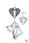 Sterling Silver Bloodhound, Head w/Healing Angels Pendant -- new
