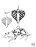Sterling Silver Border Collie Crouch w/Sheep, Body w/Healing Angels Pendant -- new