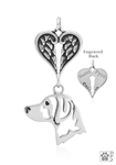 Sterling Silver Brittany, Head w/Healing Angels Pendant -- new