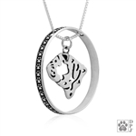 Sterling Silver Bulldog Pendant, Head, w/Colossal Blinger -- new