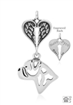 Sterling Silver Bullmastiff, Head w/Healing Angels Pendant -- new