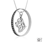 Sterling Silver Cairn Terrier Pendant, Head, w/Colossal Blinger -- new