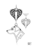 Sterling Silver Chesapeake Bay Retriever, Head w/Healing Angels Pendant -- new