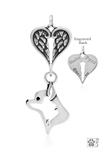 Sterling Silver Chihuahua, Smooth Coat, Head w/Healing Angels Pendant -- new