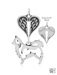 terling Silver Chihuahua, Longhaired, Body w/Healing Angels Pendant -- new