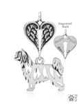 Sterling Silver Chinese Crested Powder Puff, Body w/Healing Angels Pendant -- new
