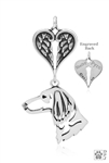 Sterling Silver Dachshund Longhaired, Head w/Healing Angels Pendant -- new