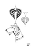 Sterling Silver Dachshund Wirehaired, Head w/Healing Angels Pendant -- new